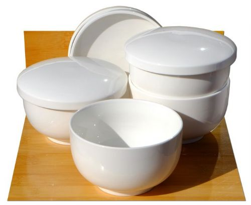 Mushi soup bowls white ceramic 11cm x 4